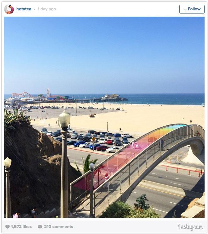 Rainbow Yarn Bridge in Santa Monica