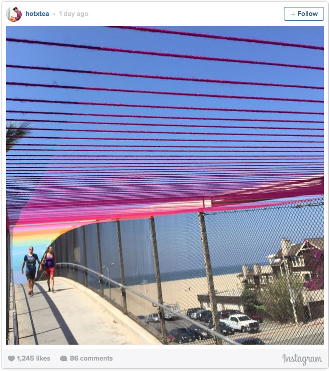 Rainbow Yarn Bridge in Santa Monica