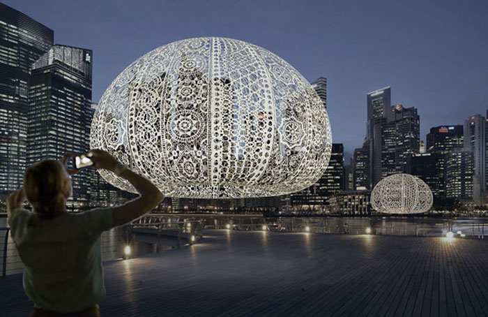 """50 People Spend 2 Months To Crochet Giant Urchins Above Singapore's Marina That Each Weight 220 Lbs (100Kg)"""